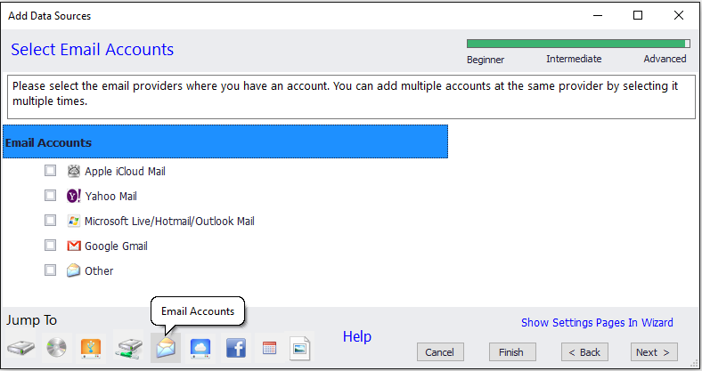 Add any email account to Blob