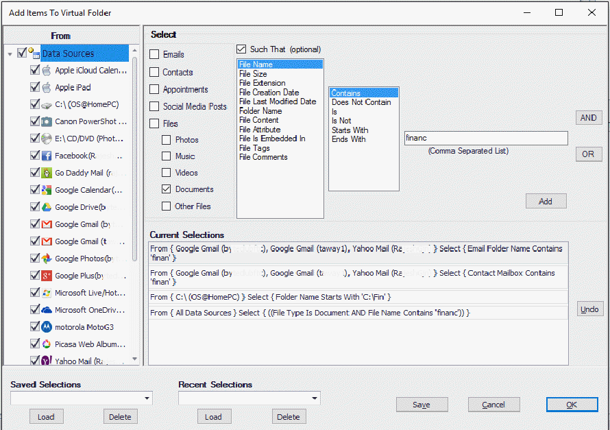 Add rules to a Virtual Folder.