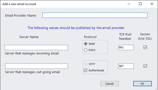 Add Email Provider Info
