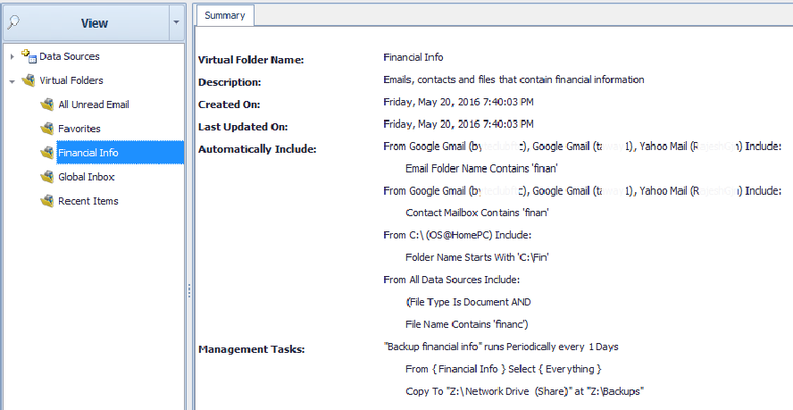 An example Virtual Folder than contains all your financial info