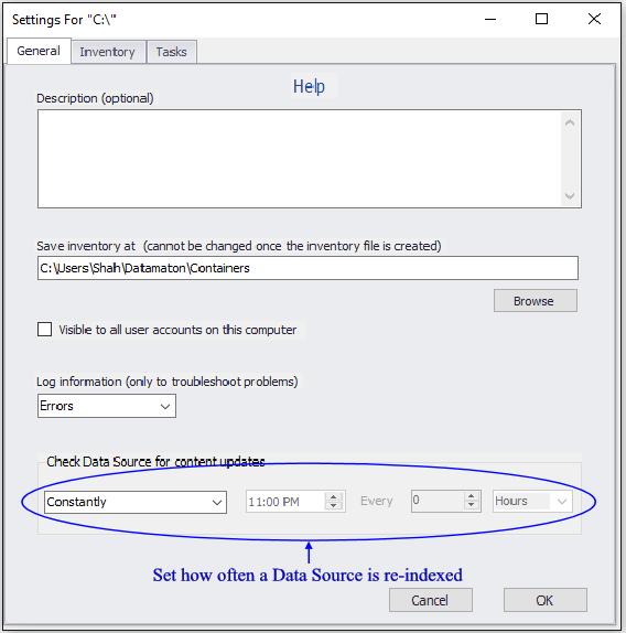 Set Data Source re-index schedule