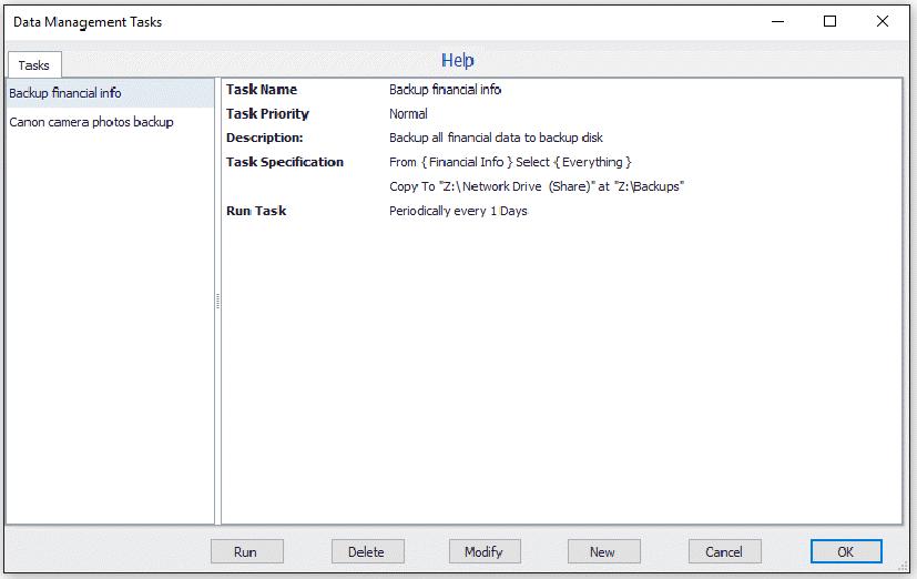 Blob Tasks screen
