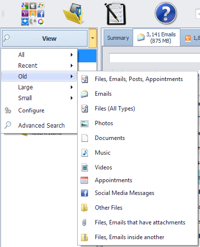 View old files, emails, appointments and social media posts.