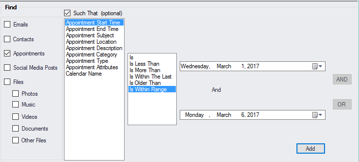 Properties you can use to find a calendar appointment
