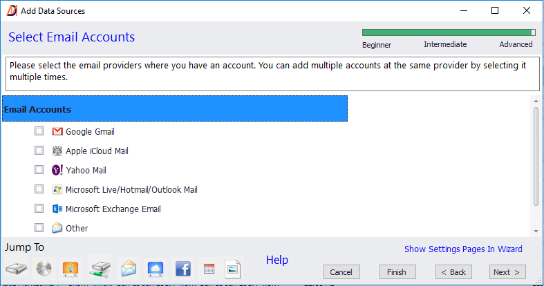 Tell Blob to index your email accounts