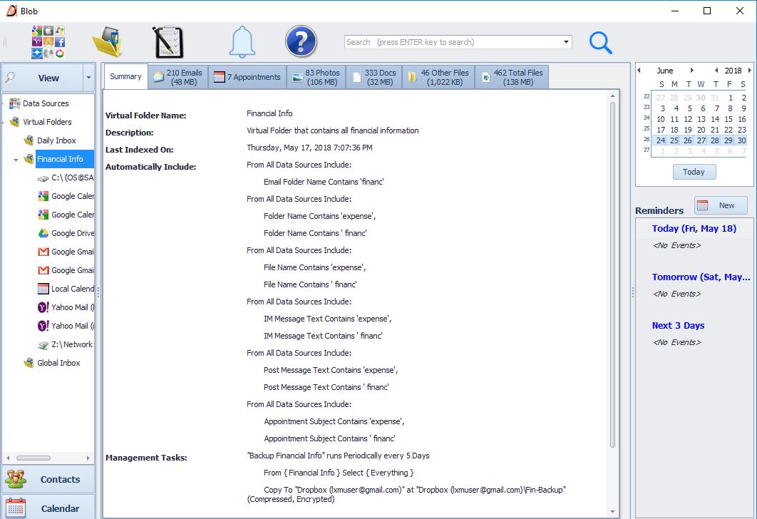 An example Virtual Folder for financial info
