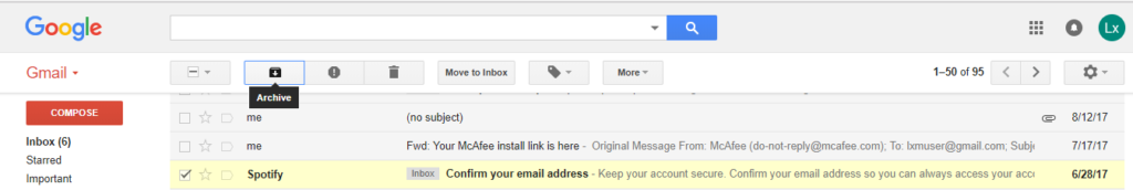 Gmail's archive button looks like a Download button