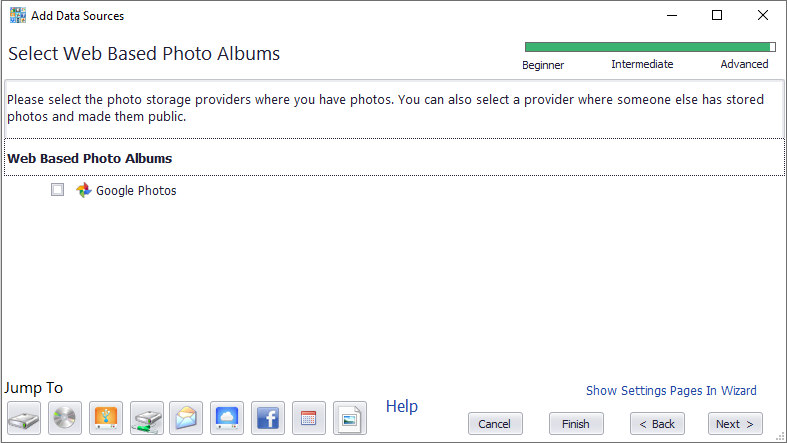 Select photo storage accounts to index