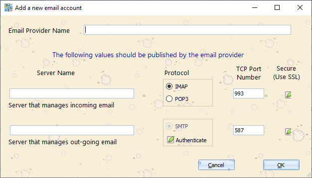 Configure a new email provider into Blob