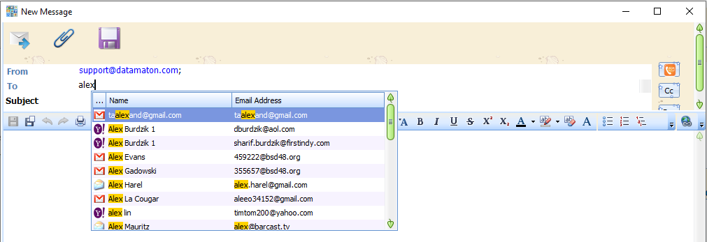 Blob auto-completes email addresses