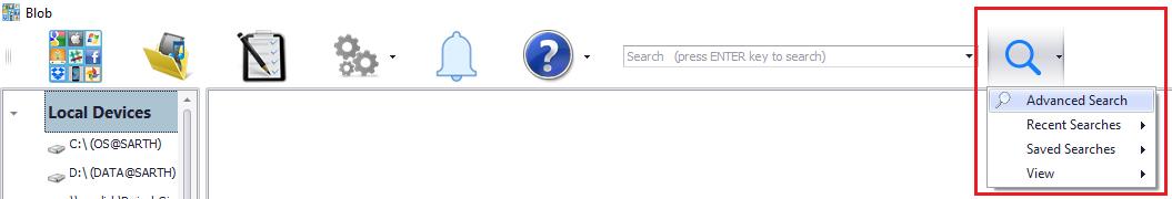 Blob advanced search menu