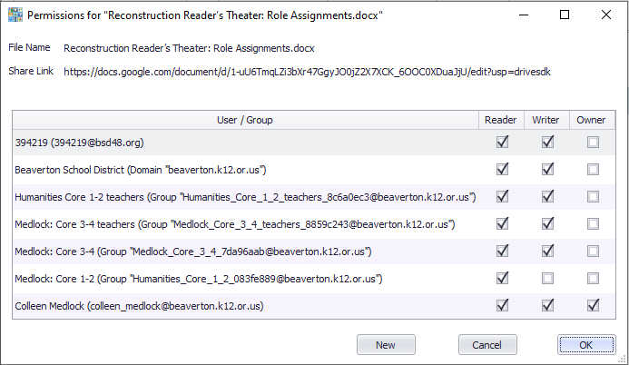 Blob displays current file permissions for a cloud file