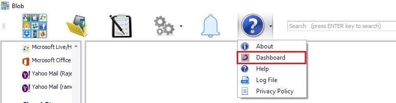 Menu button to open the Blob Dashboard