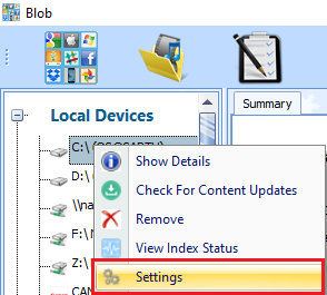 Menu to change Data Source settings