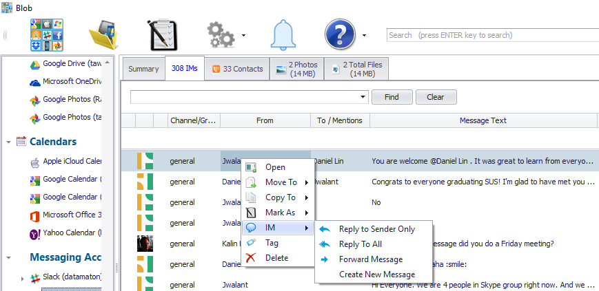 create, reply or forward text messages with Blob