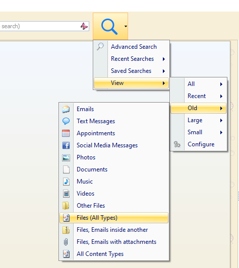 Search for old files and emails using Blob