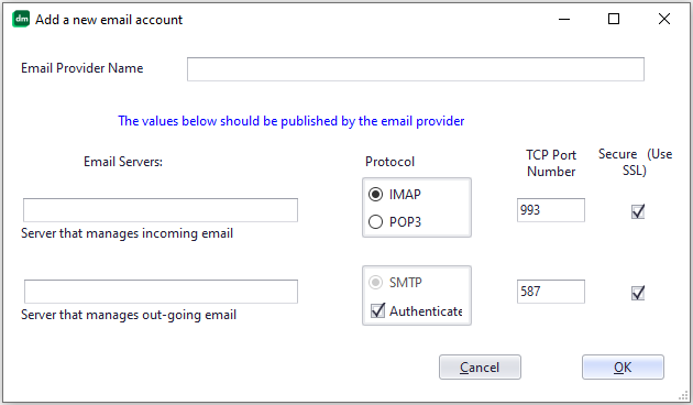 Manually add a new Email provider