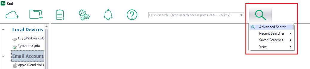 Knit advanced search menu