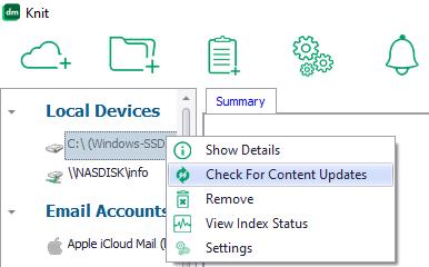 Check For Content Updates menu button