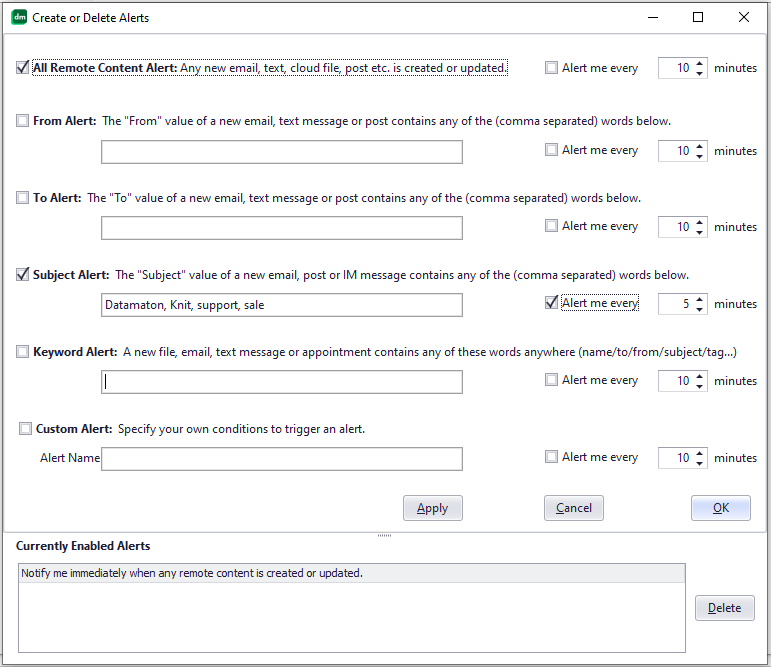 Knit lets you create sophisticated alerts to get notified on new or changed content.