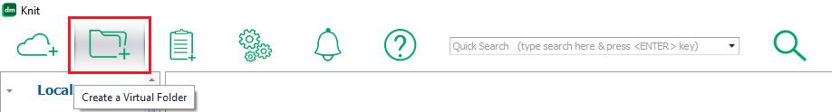 Knit menu button to create a virtual folder