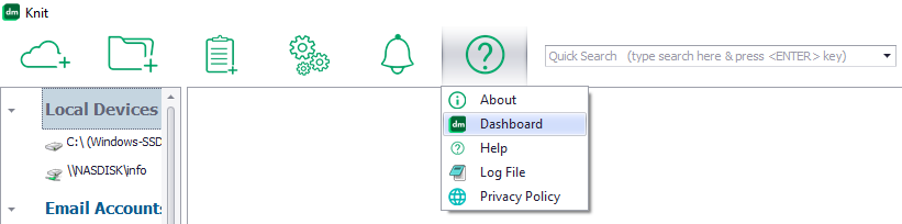 Menu button to open the Knit Dashboard