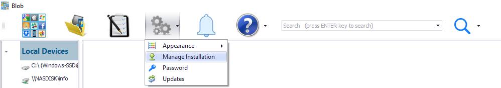 Manage Blob Installation menu options
