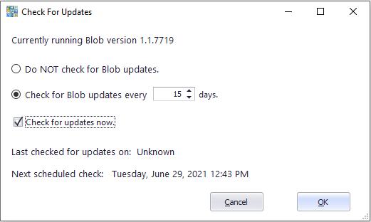 Update Blob now