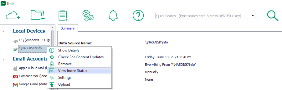 Knit menu button to view index status