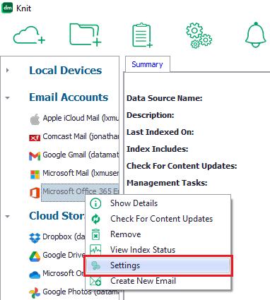 Select the Settings menu item to view settings